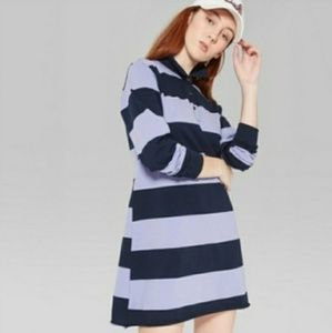 Rugby Polo Stripped T Shirt Long Sleeve Dress